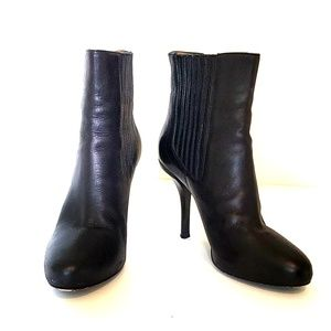 VINCE Black Leather Kelly Ankle Boots/Booties
